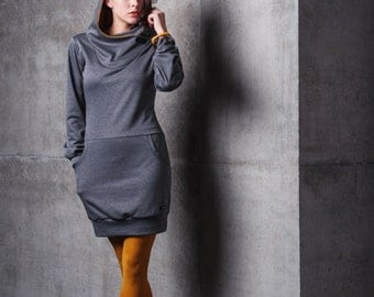 PIPPURI Kleid •COOKIE• - anthrazit, curry, Kapuze
