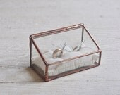 Stained Glass Ring Holder - Hinged - Glass Display Box - double ring - silver or copper - eco friendly - wedding