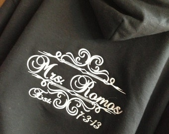 Personalized Embroidered Future Bride or Future Mrs. or Soon to be Mrs.Bride  full zip up hoodie jacket - pick your title- GREAT GIFT
