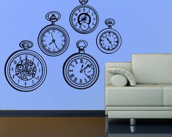 Pocket watch wall decal- set of 5 pocket watches- clock decal