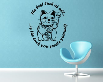 Good Luck vinyl wall decal- wall decal with lucky chinese cat and quote about luck