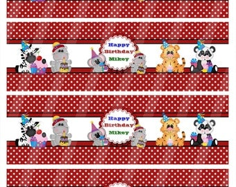Printable Personalized  Digital Birthday Bottle Labels