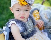 Cobblestones & Daisies Yellow and Gray Headband by London Raquel Made to Match Persnickety Fall 2012