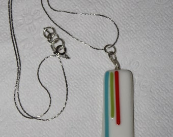 White Fused Glass Pendant on silver plated chain