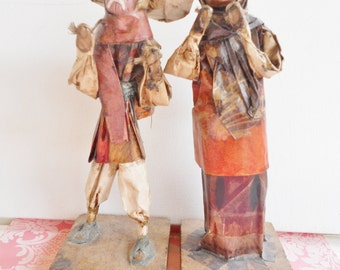 Vintage Paper Mache Sculpture Figurine Mexican Gypsy Couple Travelers Folk Art