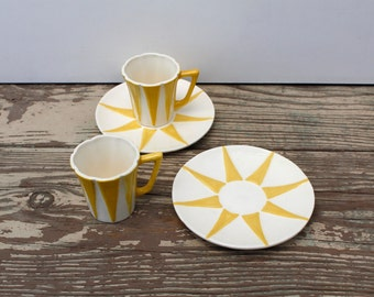 Sunburst Demitasse Espresso Cup and Saucer Pair, Tea Cups, Coffee Cups Child Size, Tea Set,Vintage