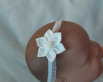 White Poinsettia Satin Flower on a Stretch Organza Ribbon, Pearl Cluster, Baptism, Christening, Presentation, Headband, Gift, Baby Shower