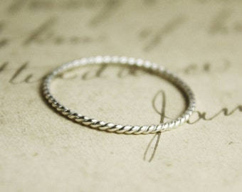 Skinny Sterling Silver Rope Stacking Ring