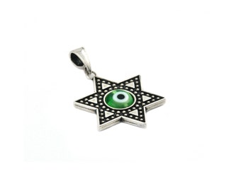Free Domestic Shipping Sterling Silver Green Evil Eye Star of David Pendant Religious, Green, Charm, Jewish, Pendant, Gift, For Her, Love
