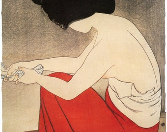 Japanese Art. Fine Art Reproduction. Woman at Bath, 1917. Shinsui Ito (1898-1972). Fine Art Print