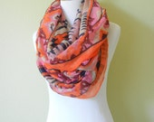 Hot Pink, Pale Pink, Fuschia, Beige and Navy Blue Western Aztec Ikat  Infinity Scarf