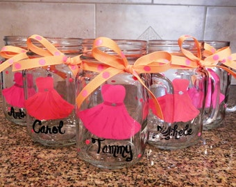 Bridesmaid Glasses - Hand Painted and Personalized - Created to Match the Dress