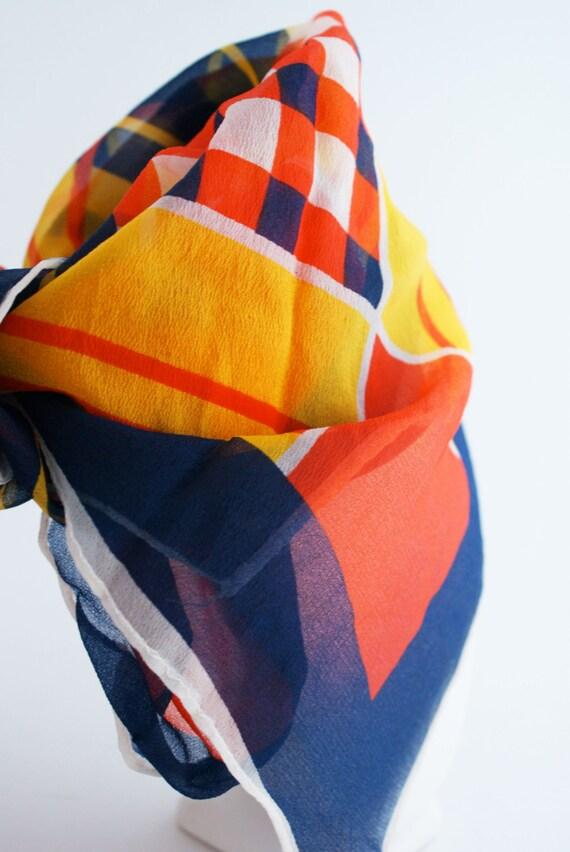 Scarf - Yellow Nylon Vintage 1970s Bold Geometric printed red blue