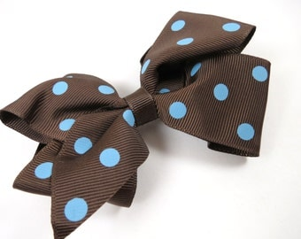 Polka Dot Hair Bow - Brown Polka Dot Hair Bow - Blue Polka Dot Hair Bow - Hair Bow - Polka Dot - Kids Girls Accessory Hair