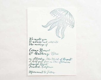 Letterpress Wedding Invitation -Oceanic Suite- Sample