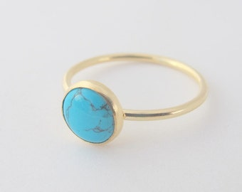Turquoise Ring, Gold filled Ring with 8mm Turquoise stone, Gemstone ring