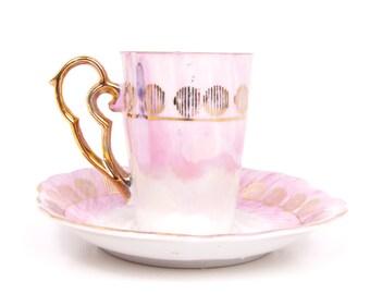 Vintage Pink Demitasse Teacup Saucer Iridescent Tea Cup Japan Pearlized Demi Lusterware Gold Trim Tea Set Ornate