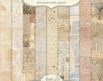 Mixed Media 9 Digital Printable Scrapbook Papers Set by Jodie Lee ... Instant Download and Print