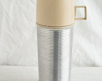 Vintage Thermos, Ribbed Steel Thermos, Pint, Retro Picnic Essential, Vacuum Bottle