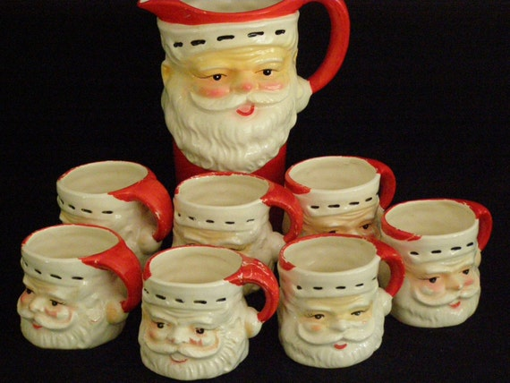 Vintage christmas santa claus chocolate pot pitcher by