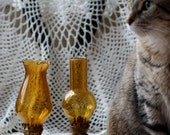 Vintage Amber Glass Oil Lamps - Set of 2