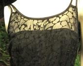 Gidgets web Beautiful Burnout Spider Lace Like Dress Black Swirl Lined Vintage Small Medium (Au10/12 or/US 6/8) 'WA Street Team'