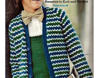 Boys Sweaters to knit and Crochet Pattern Booklet Columbia Minerva 2573