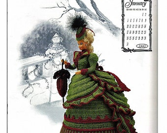 The Victorian Lady Centennial Collection Miss January 1993 Fashion Doll  Crochet Pattern  Annies Calendar Bed Doll Society 7601