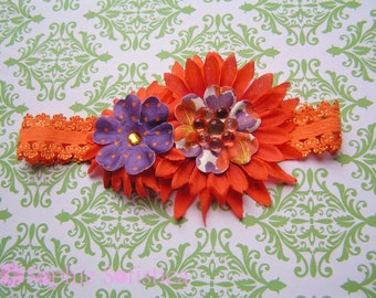 Purple and Orange Flower Headband for Infant- Gift for Baby - Perfect for Spring