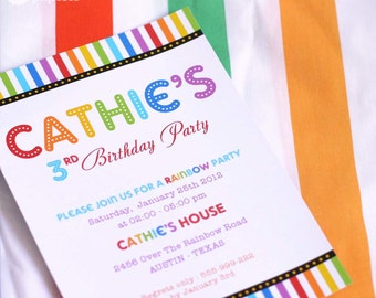 DIY PRINTABLE Invitation Card - Rainbow Birthday Party Invitation - PS808CA1a1