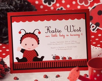 DIY PRINTABLE Invitation Card - Red Lady Bug Birthday Party - PS815CB1a1
