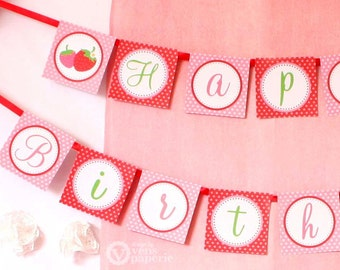 Strawberry Birthday Party - DIY PRINTABLE Happy Birthday Banner - Instant Download - design by venspaperie - PS803CA1e