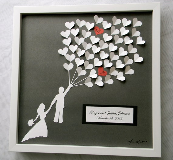 What Do You Get Your Bride For A Wedding Gift: Wedding Guest Book Alternative 3D Paper Hearts Lovely Bridal