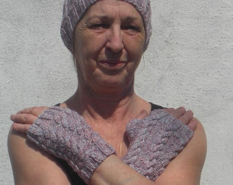 HAND KNITTED Ladies Heather Mixture Hat and Wristwarmers Set. (Ready to Ship)