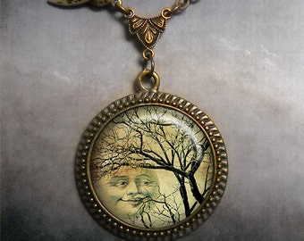 Winter Moon & Tree glass necklace, moon necklace, moon jewelry, moon jewellery, tree necklace