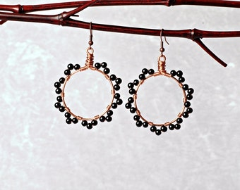 Copper Wire Hoops with Black Glass Beaded Scalloped Edging