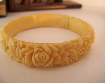 Celluloid Ivory BRACELET Bangle Vintage Carved Roses Floral