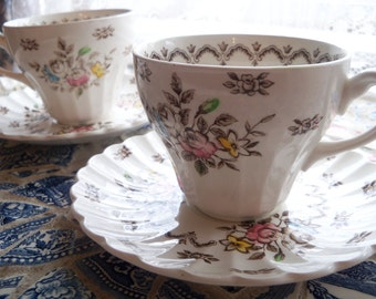 2 Victorian Tea Cup and Saucers J G Meakin England Classic White Chatsworth Vintage TeaCup Set