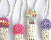 4 for 20 - Customizable Mushroom Lighter Holder Necklace - 50 Custom Colors - Crochet Bic Lighter Leash - Made to Order - Noelebelle