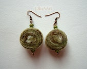 FOREST FAIRY TALE in leaf green - original felted earrings in light green, brown and white, green and eco fairy tale