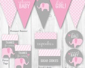 Elephant Baby Shower Package - Pink & Gray. DIY Printable Baby Shower Decorations - Elephant Baby Shower Decor.