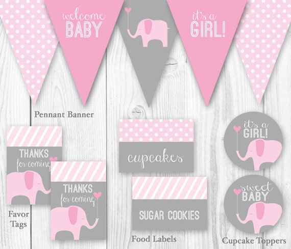 Items similar to elephant baby shower package pink for Baby shower decoration templates