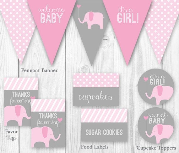 elephant baby shower package pink gray diy printable baby shower