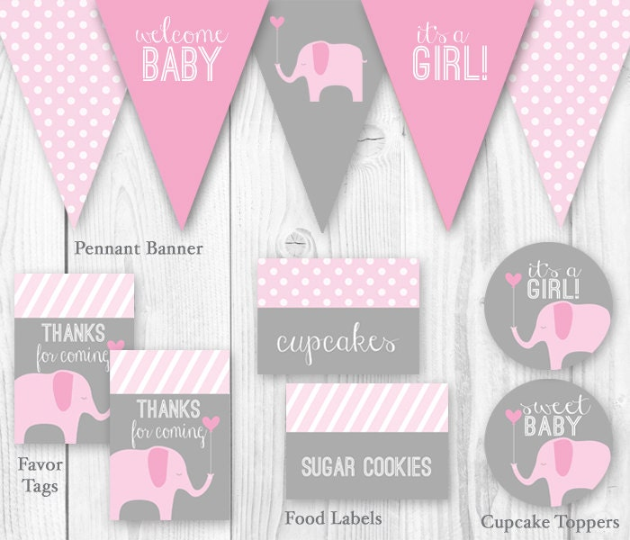 Elephant baby shower package pink gray diy printable baby for Baby shower decoration templates