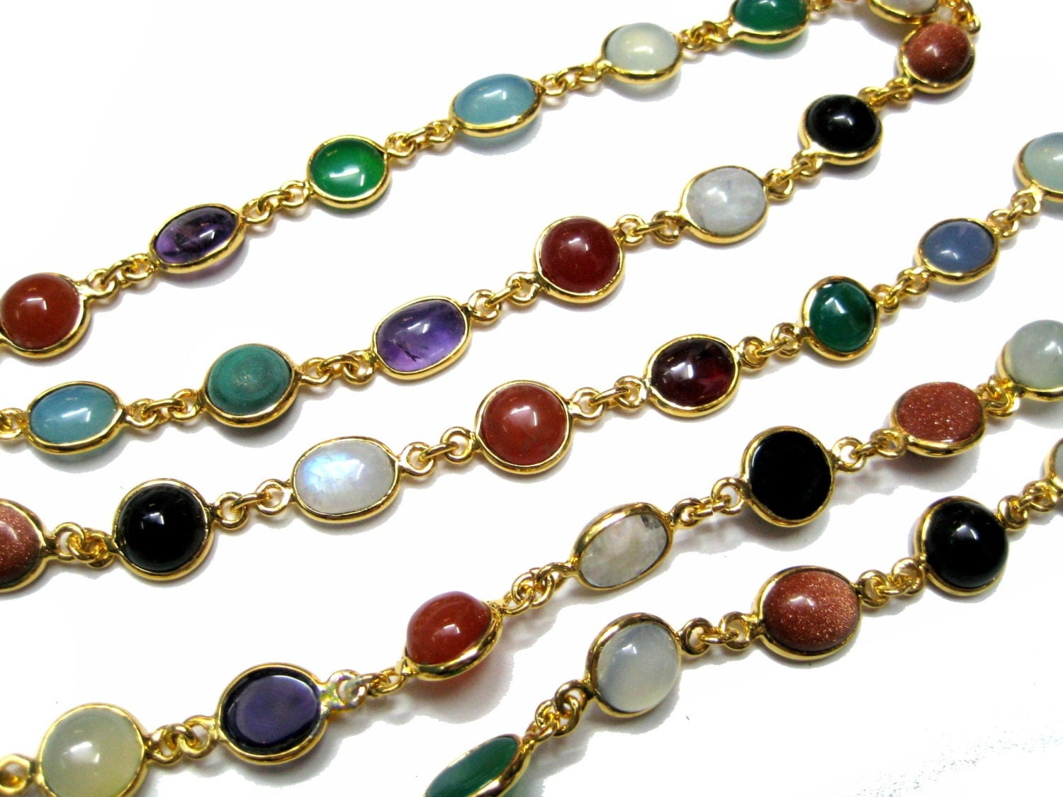 12 inches long gold plated cabochons gemstone bezelled for Bulk jewelry chain canada