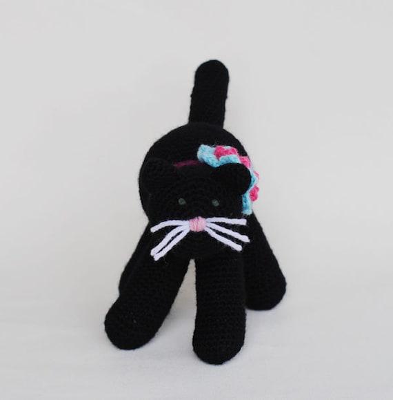 SALE Black Cat, Crochet Amigurumi Toy For Child, Natural Fiber Wool Toy, Kitty Plush