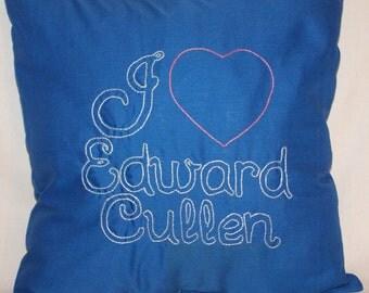 Twilight Inspired, I heart Edward Cullen, Throw Pillow