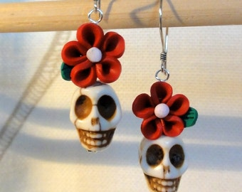 Dia de los Muertos Earrings - White Skull w/ Red Flower
