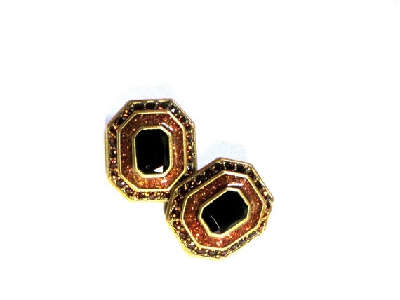 Bijoux New York Topaz Rhinestone Earrings Bold Black Designer Clips Bronze Rectangle Elegant Statement