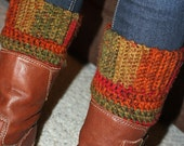 Teen - Adult Boot Cuff Warmers - Rust, Green, Brown - Handcrafted